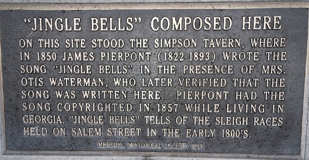 A plaque marks the spot in Medford, Mass. where Jingle Bells was composed by James Pierpont. (Medford Historical Society)